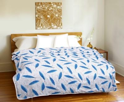 CURL UP Printed Single Dohar Blue, White