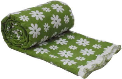 Snuggle Floral Double Dohar Green, White