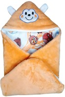 Brandonn Abstract Single Hooded Baby Blanket Peach