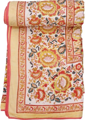 Chhipa Prints Floral Double Quilts & Comforters Yellow