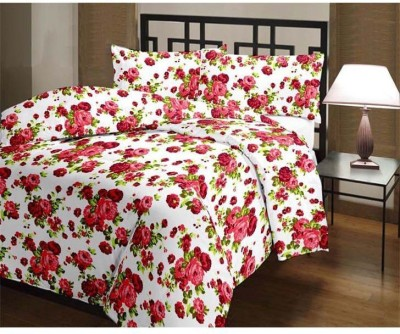 FINCH FEATHER Floral Double Dohar Red, White