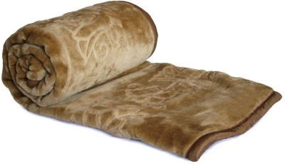 Textile India Floral Double Blanket Brown