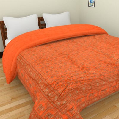 Spangle Printed Double Quilts & Comforters Orange