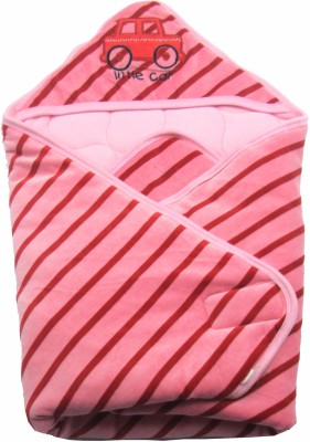 Ahad Striped, Plain Single Hooded Baby Blanket Pink