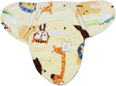 Ole Baby Baby Tiger,Giraffe and Line Double Side Print Comfortable Swaddle Blanket, Adjustable Infant Wrap With Velcro Closure , Soft Furry.0-6 months Sleeping Bag