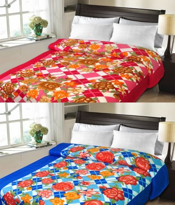 Candy House Checkered Double Blanket Blue