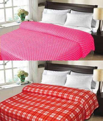 Sanvi Traders Checkered Double Blanket Orange