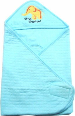 Ahad Plain Single Hooded Baby Blanket Clear Water