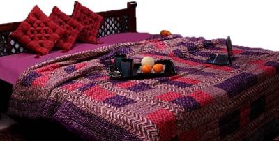 GRJ India Geometric Double Quilts & Comforters Purple