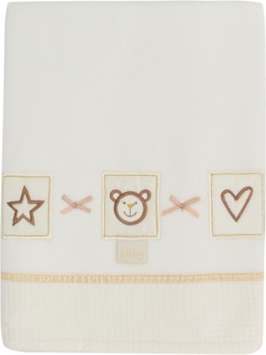 Lollipop Lane Embroidered Single Blanket Pram Cream