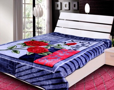 Rangoli Floral Double Blanket Grey