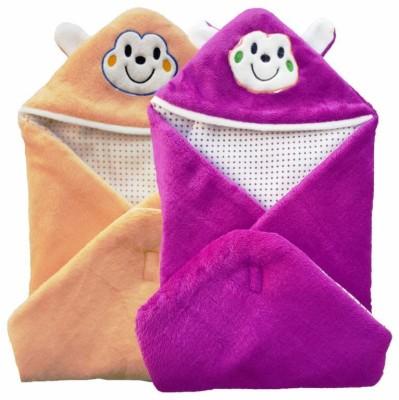 Brandonn Abstract Single Hooded Baby Blanket Peach, Purple