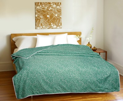 CURL UP Printed Single Dohar Green, White