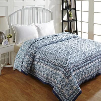 Ratan Jaipur Floral Double Quilts & Comforters Blue