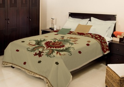 Bombay Dyeing Embroidered Double Blanket Brown