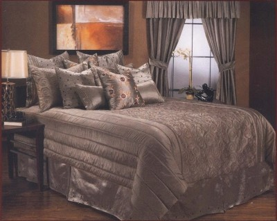 Needlecrest Striped Double Quilts & Comforters Grey