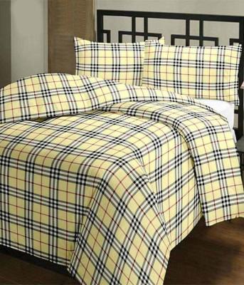 Factorywala Checkered Single Dohar Yellow