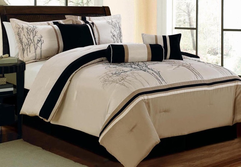 Bella King Cotton Duvet Cover(Beige, Black)