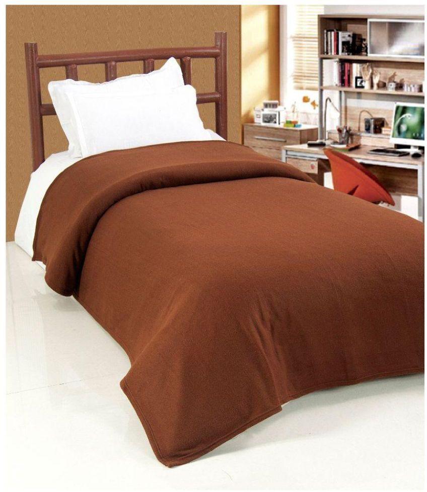 Devine Plain Single Blanket Brown(Fleece Blanket)