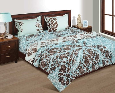 House This Floral Double Dohar Blue, Brown