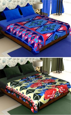 Story@home Floral Double Blanket Blue(2 Pc Blanket)