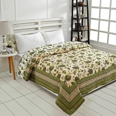 Ratan Jaipur Floral Queen Quilts & Comforters Green