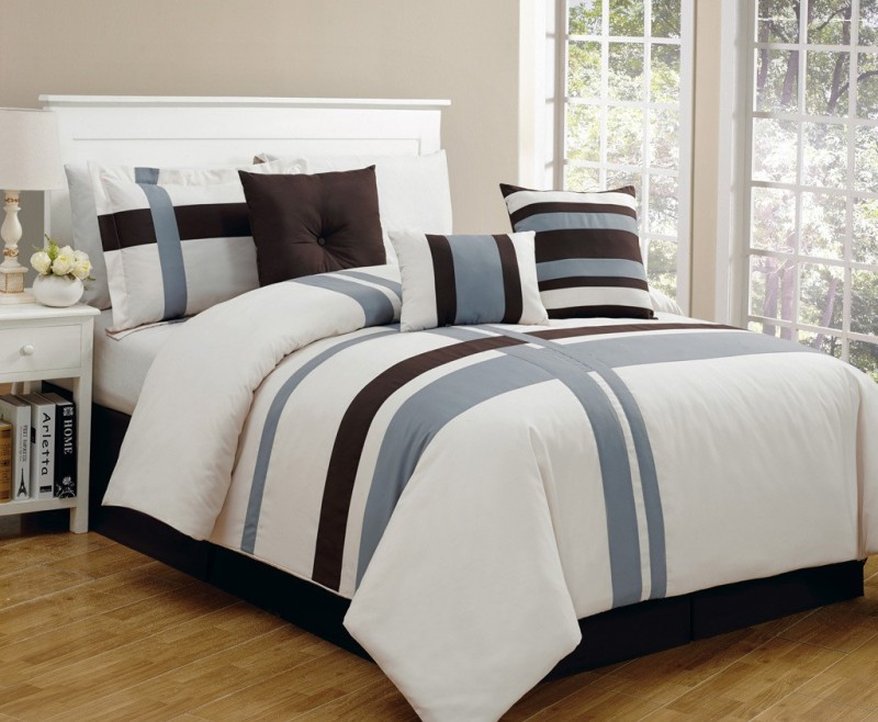 Bella King Cotton Duvet Cover(Brown, Blue)