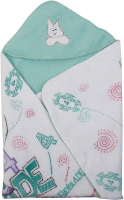 Utc Garments Cartoon Single Hooded Baby Blanket Light Green, White, Purple