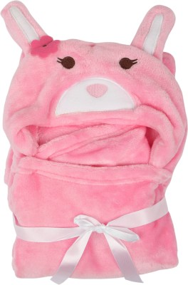 Offspring Animal Single Hooded Baby Blanket Pink