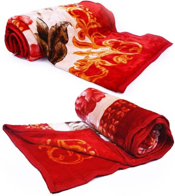 Little India Floral Single Blanket Red