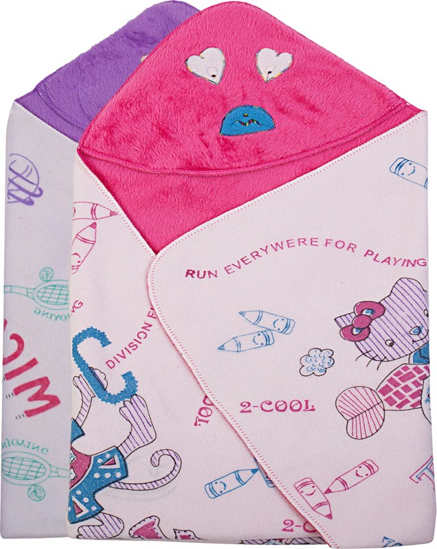 Utc Garments Cartoon Single Blanket Purple, Pink, White, Red(2 Blankets)