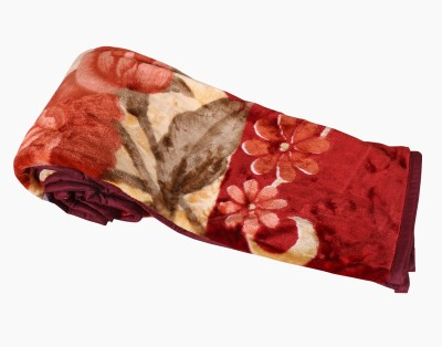 IndiWeaves Floral Single Blanket Maroon, Pink
