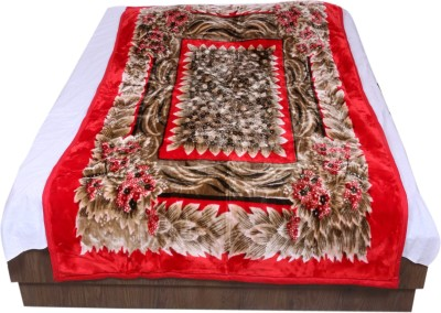 IndiWeaves Floral Single Blanket Red