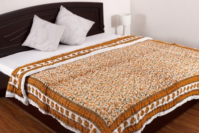 Ayushi Craft & Fashions Floral Double Quilts & Comforters Brown, White