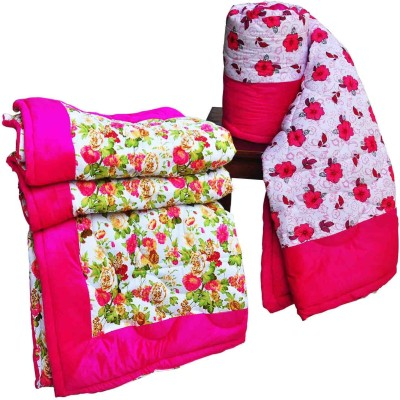 Artisan Creation Floral Single Quilts & Comforters Pink