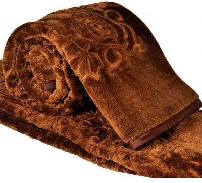 Kalash Floral Double Blanket Brown