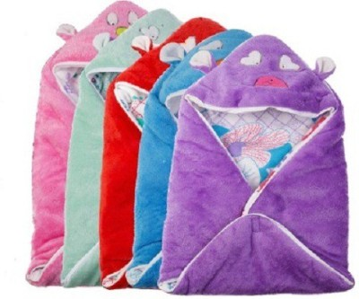 Utc Garments Cartoon Single Hooded Baby Blanket Purple, Blue, Red, Pink, White