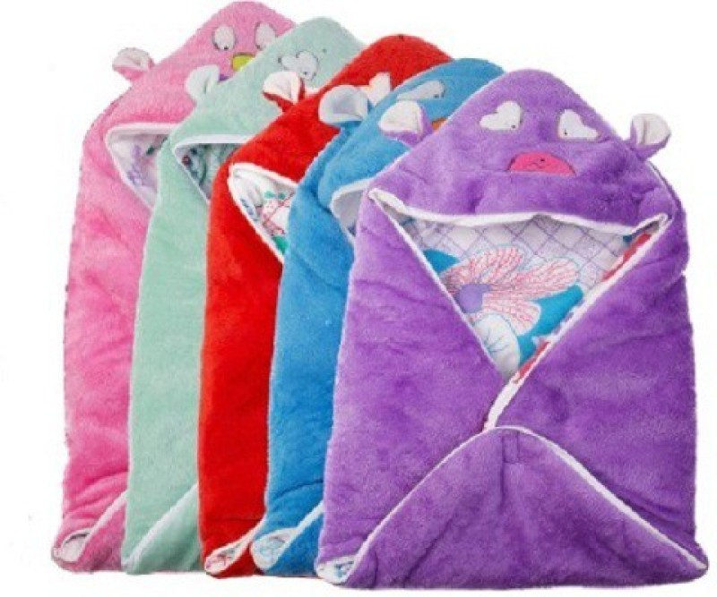 Utc Garments Cartoon Single Hooded Baby Blanket Purple, Blue, Red, Pink, White(5 Blankets)