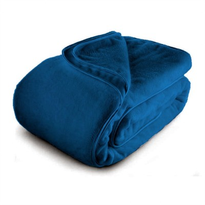 Blush Plain Double Blanket Dark Blue