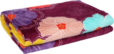 Gujattire Floral Double Blanket Purple