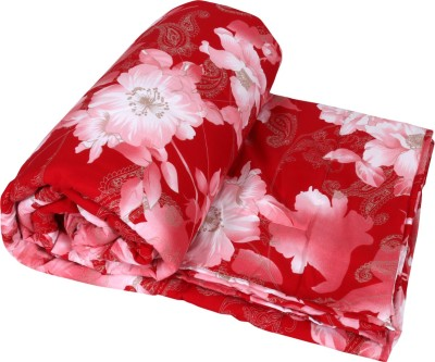 IndiWeaves Floral Double Quilts & Comforters Red