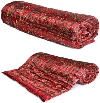 Agarwal Fashion Floral, Animal Single Quilts & Comforters Maroon, Gold Print