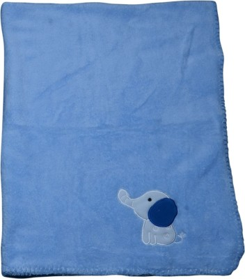 Offspring Embroidered, Plain Single Hooded Baby Blanket Blue