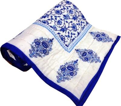 RajLaxmi Checkered Single Quilts & Comforters Blue, White