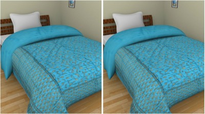 Shra Abstract Single Quilts & Comforters Light Blue