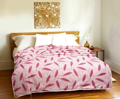 CURL UP Printed Single Dohar Pink, White