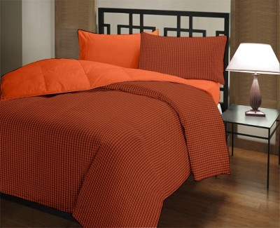 Featherlite Checkered Single Quilts & Comforters Rust Checks, Orange Plain