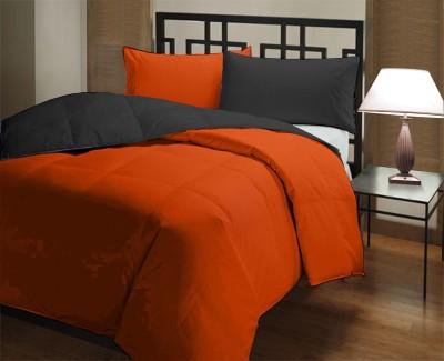 Featherlite Plain Single Duvet Black, Orange