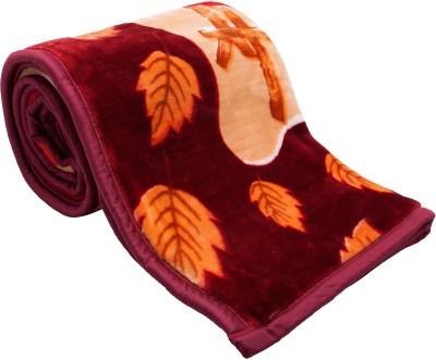 Feel Soft Floral Single Blanket Maroon, Yellow, Orange