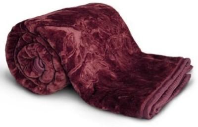 NK Handlooms Plain Double Blanket Purple